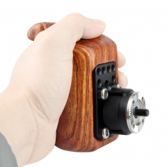 NICEYRIG Wooden Handle Grip with ARRI Specifications Rosette (left)