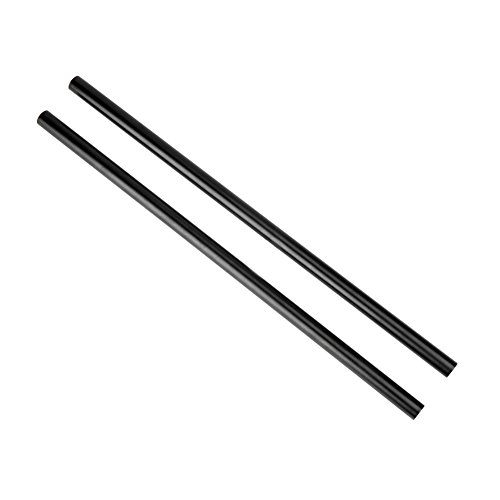 NICEYRIG 15mm Rod Black Aluminum Alloy 40cm 16inch Long for Shoulder Rig Support System (Pack of 2)
