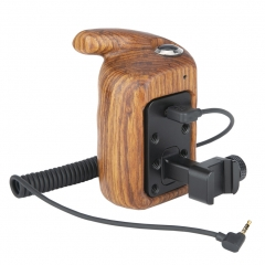 NICEYRIG Wooden Hand Grip (Left Side) with Record Start/Stop Remote Trigger for Panasonic Lumix Cameras