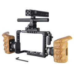 Niceyrig Sony A7RIV /A1 ILCE-1 /A7RIII /A9 /A7MIII /A7RII /A7SII /A7III /A7II Camera Cage Kit with Nato Handle / Standard ARRI Rosette Wooden Handgrip